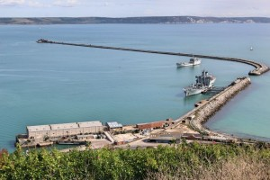 Jurassic Coast - View of navy frigates from the Jailhouse Cafe The Verne, Portland